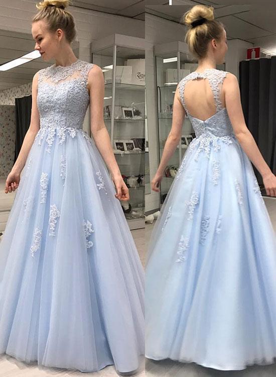 formal elegant light blue dress,a line prom dresses,