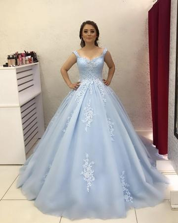 36d5c1c84e0 Custom Made Tulle Light Blue Ball Gown Prom by fancygirldress on