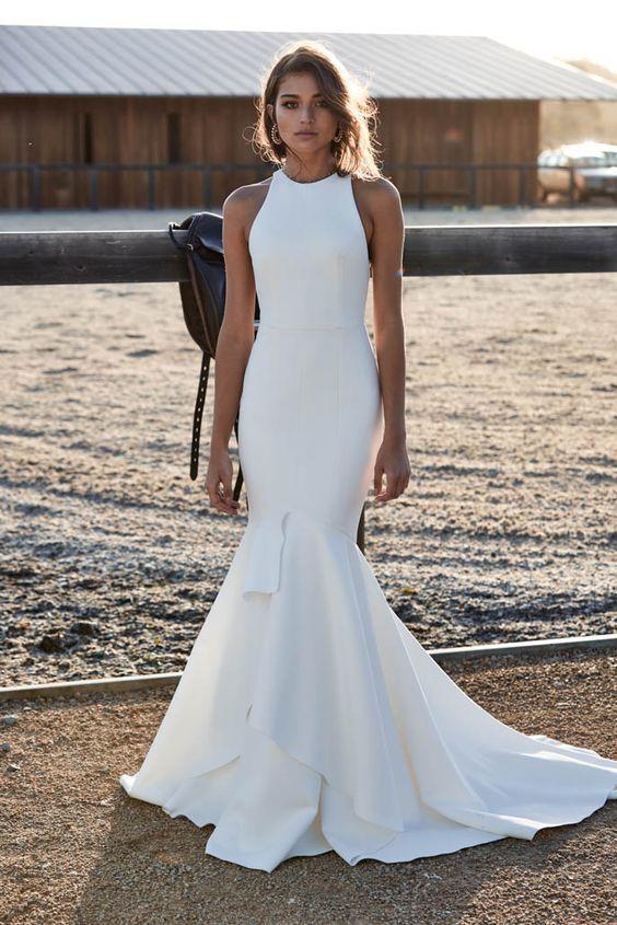 Mermaid Wedding Dress,Keyhole Back Bridal Dress