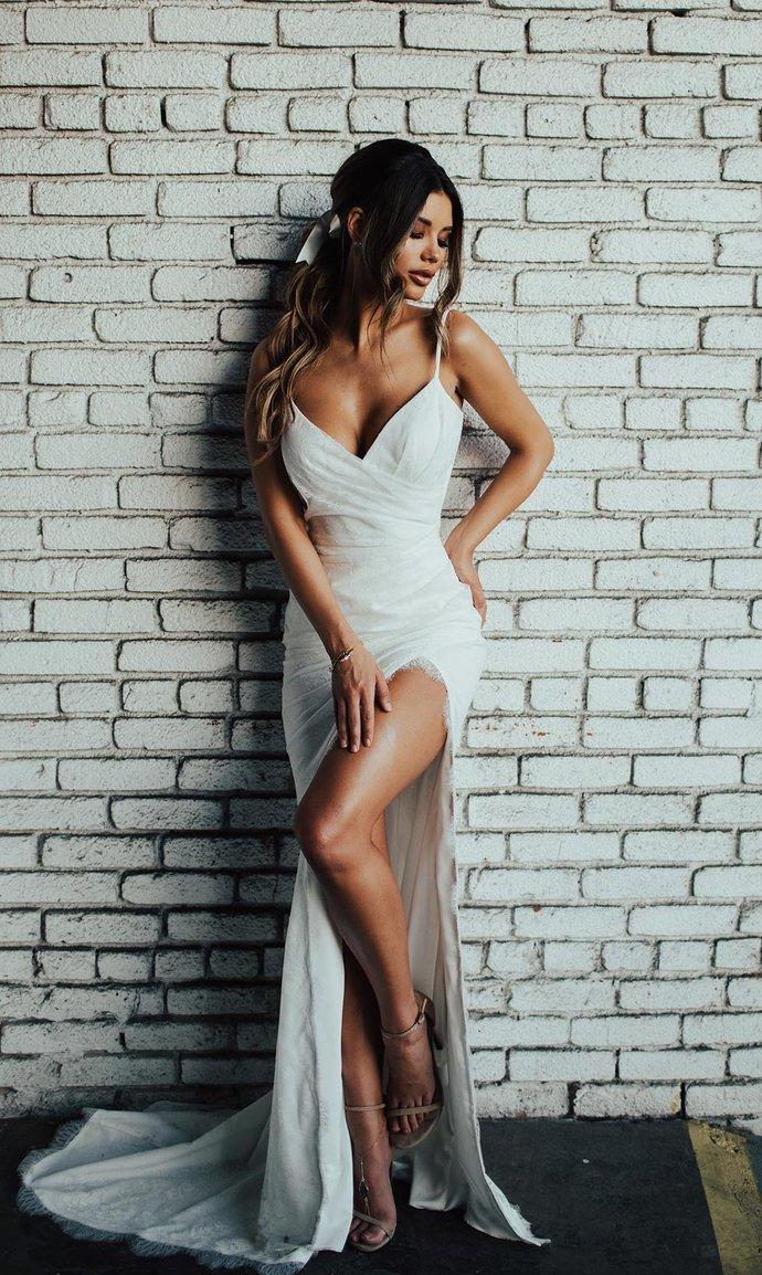 Sexy Slit Wedding Dress,Boho Bridal Dress,Informal Open Back Wedding Dress