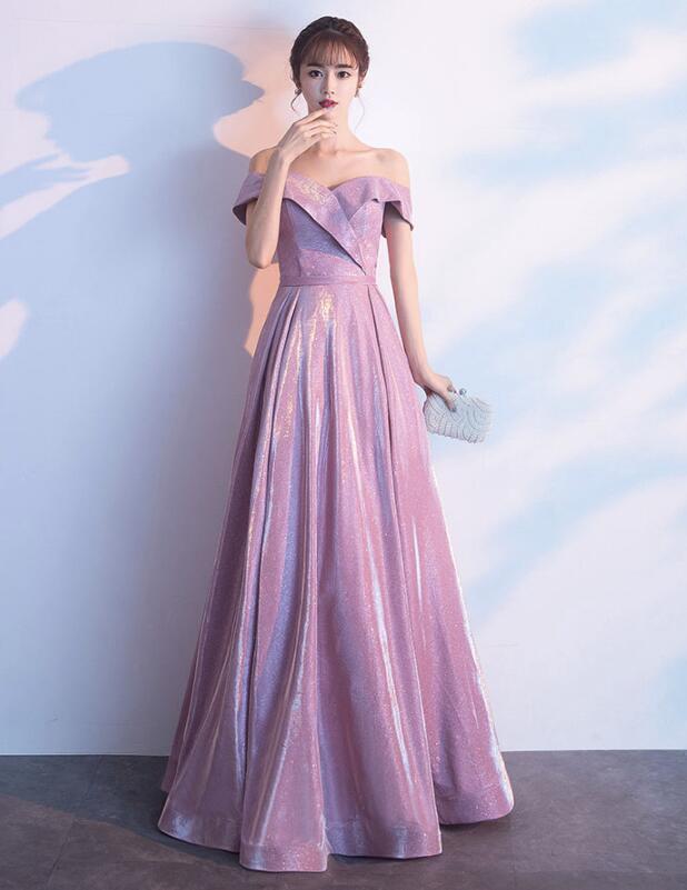 Pink Sequins Off Shoulder Floor Length Bridesmaid Dress, Handmade Formal Gown