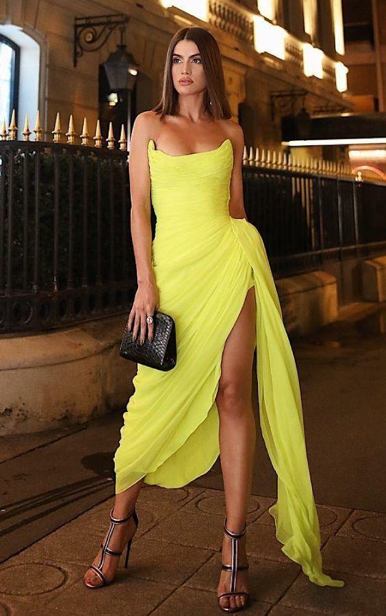 Yellow Prom Dress,Sexy Slit Party Dress,Short Yellow Evening Dress