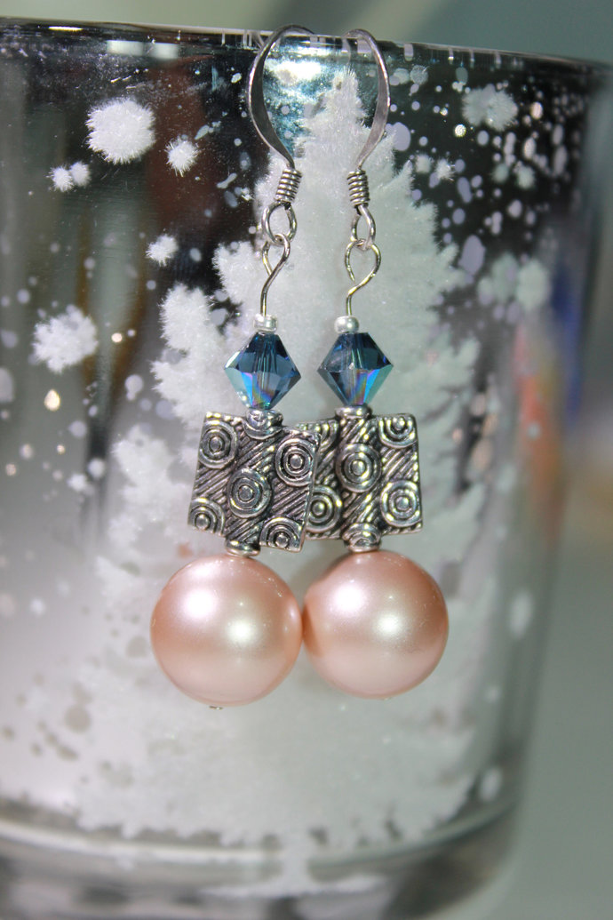 Rose gold pearl date night earrings