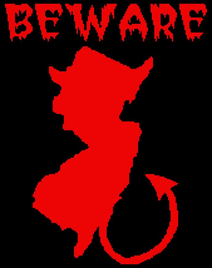 Jersey Devil - Beware (Black Background)