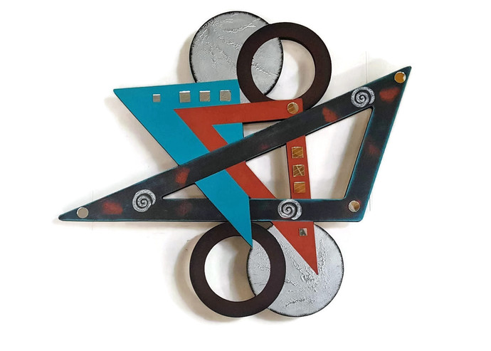 Contemporary Abstract Geometric Tango Wall hanging, Wood Wall sculpture with