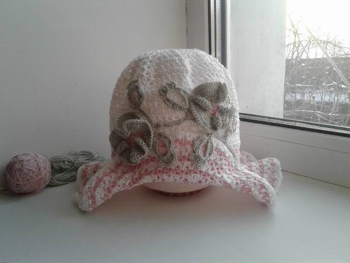Summer knitted hat Panama for girls 4-6 years old, hand made