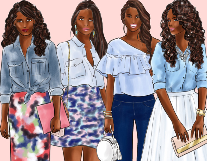 Watercolor fashion illustration clipart - Girls in Chambray Shirt - Dark Skin
