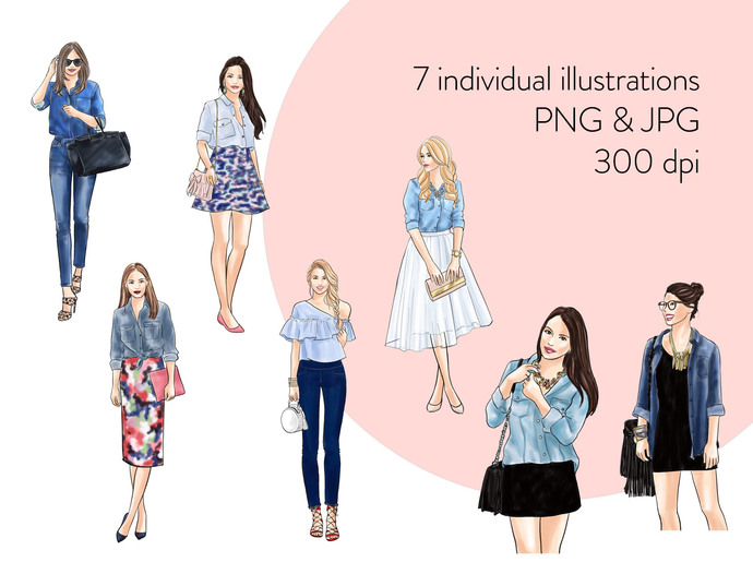 Watercolor fashion illustration clipart - Girls in Chambray Shirt - Light Skin