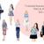 Watercolor fashion illustration clipart - Girls in Chambray Shirt - Light Skin