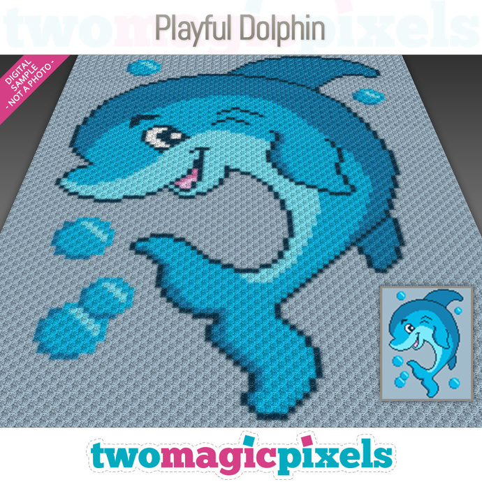 Playful Dolphin crochet graph (C2C, Mini C2C, SC, HDC, DC, TSS), cross stitch;