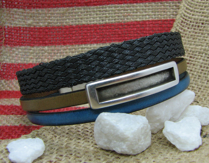 Men's Leather and Woven Mesh Cuff Bracelet