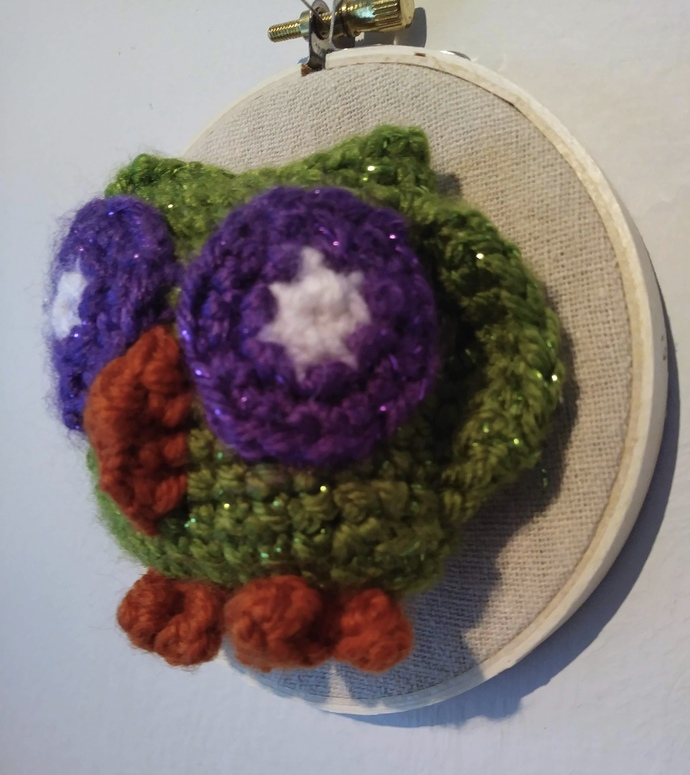 Crochet Owl in Wooden Embroidery Hoop 4""