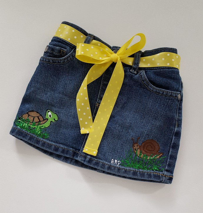 Toddler's Denim Skirt, Hand Painted Turtle and Snail, Jean Summer Skirt,
