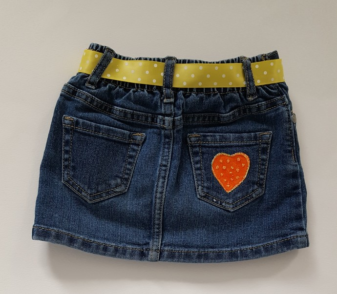Toddler's Denim Skirt, Hand Painted Turtle and Snail, Jean Summer Skirt,