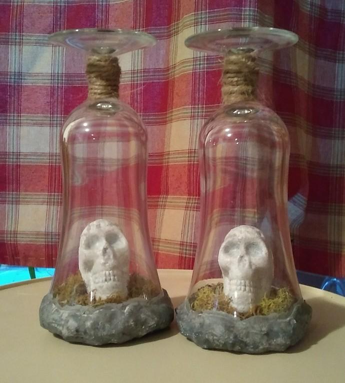 Preserved Skull Glass Candle Holder