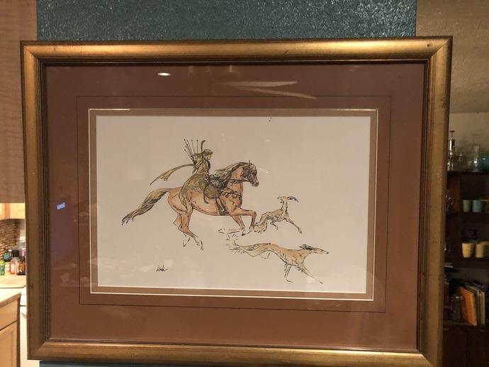 Arabian Huntress with Salukis