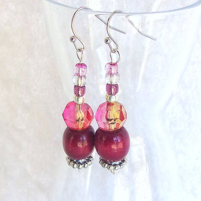 Dangle Earrings beaded in Burgundy and Pink beads with sparkle