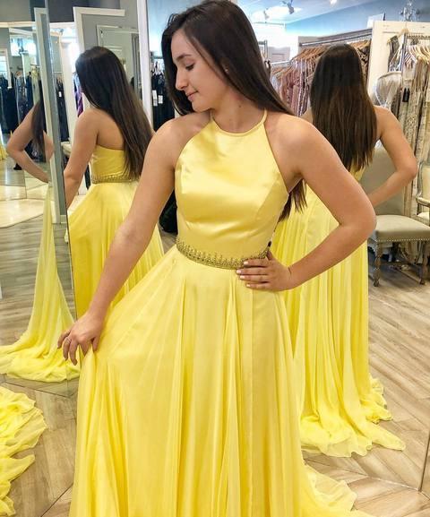 ef447057a3c5 Elegant Yellow Chiffon Prom Dress, A Line Prom Dresses, Formal Evening Gowns