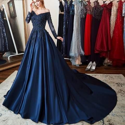 5d845a5d5d Elegant Navy Blue Long Sleeve Formal by fancygirldress on Zibbet