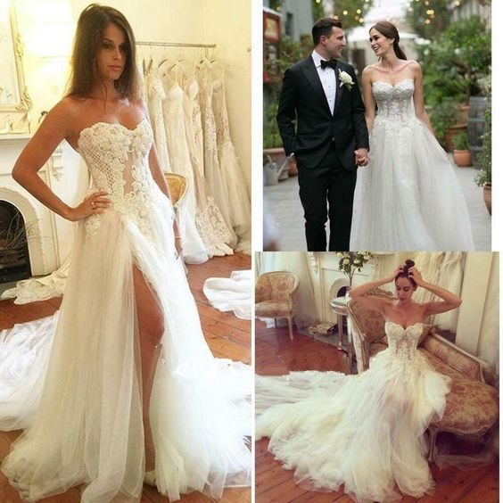 Charming Strapless White A Line Tulle Wedding Dress with Appliques, Sexy Split
