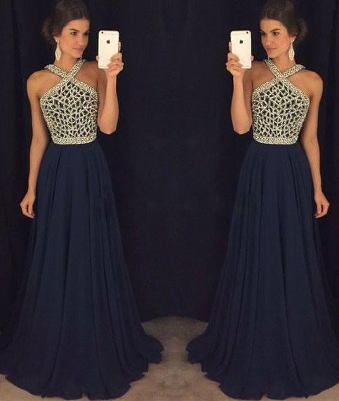 Elegant Navy Blue Chiffon Evening Dress, Beaded Long Prom Dress, Formal