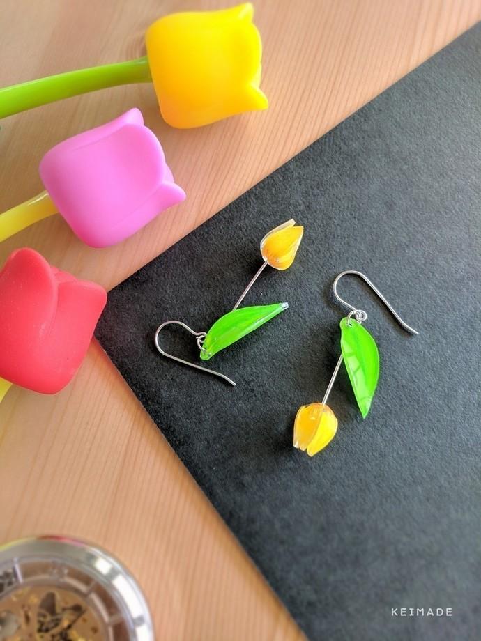 Tulip Drop Earrings - Handmade Kawaii Flowers