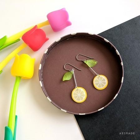 Lemon Slice Drop Earrings - Handmade Kawaii