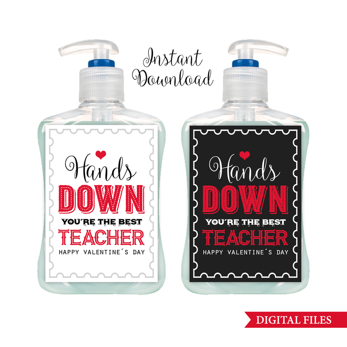 Teacher Appreciation Gift Tags, INSTANT DOWNLOAD, Valentine's Day Soap Label