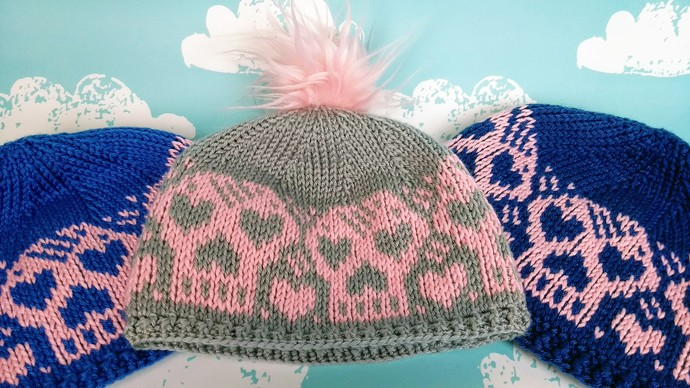 The Heartskull Hat in stock in Blue and Pink