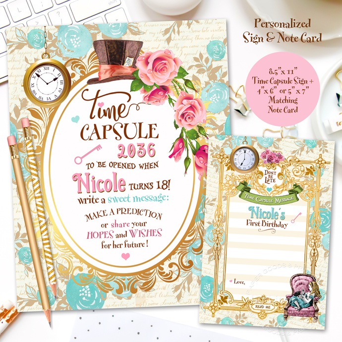 photo relating to Time Capsule Printable titled Alice in just Wonderland Season Capsule Initially Birthday + Matching Notice Card, Printable Custom made Year Capsule Signal, 1st Birthday