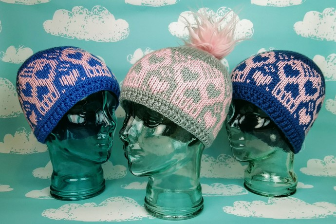 The Heartskull Hat in stock in Dark Blue and Pink