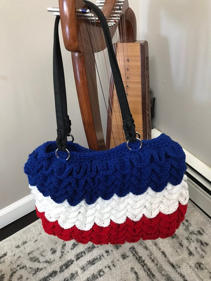 Crochet Purse, Red ,White and Blue, Patriotic, Crocodile Stitch Handbag, 16 x