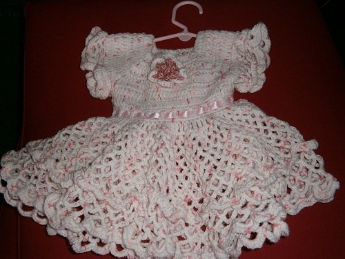 Crochet Baby Dress Size 6-12 months, Pink and white, Ruffle Baby Dress,
