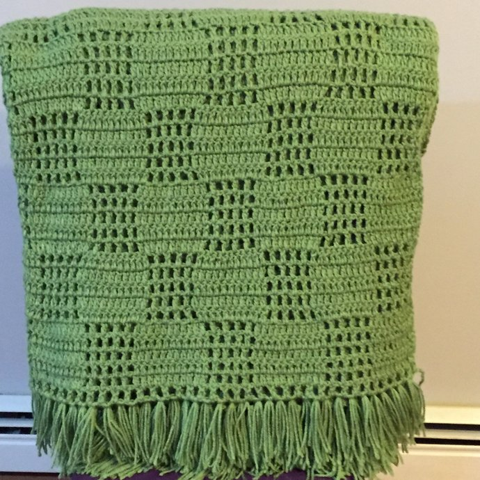 Tea Green Hand crochet Afghan, Fringe Afghan,  Comfort Blanket, Filet Crochet