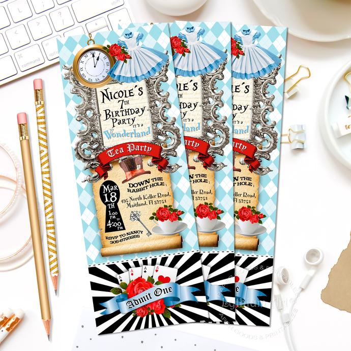 Alice In Wonderland Ticket Invitation Alice By Lythiumart On Zibbet