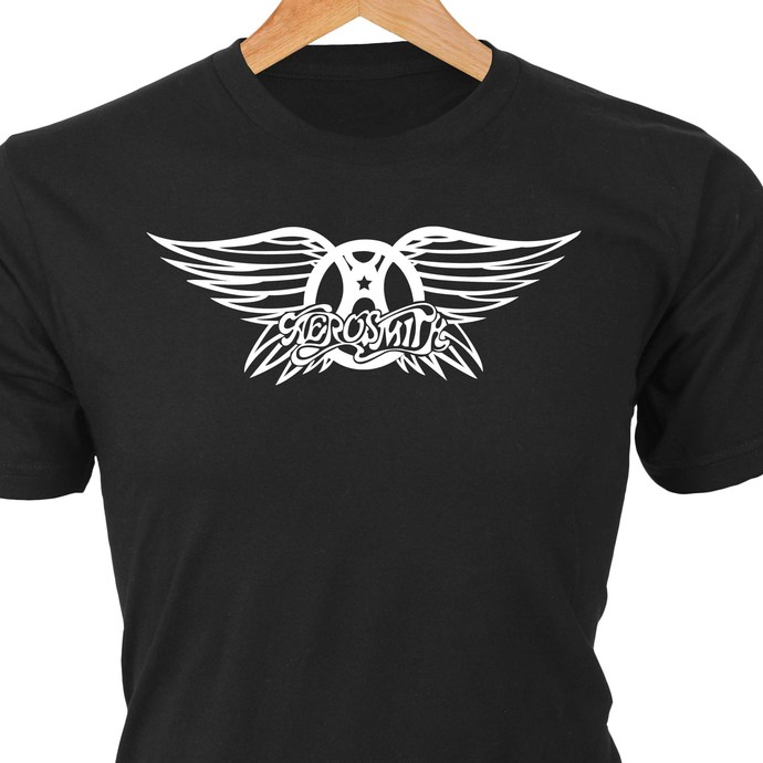 Aerosmith classic rock logo in heat transfer vinyl and pressed on a custom