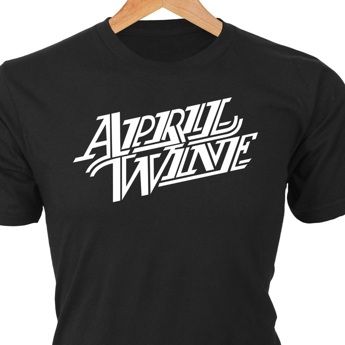 April Wine classic rock logo in heat transfer vinyl and pressed on a custom