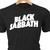 Black Sabbath classic rock logo in heat transfer vinyl and pressed on a custom