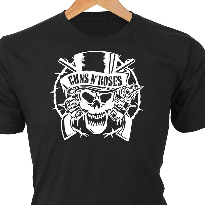 Guns N' Roses classic rock logo in heat transfer vinyl and pressed on a custom