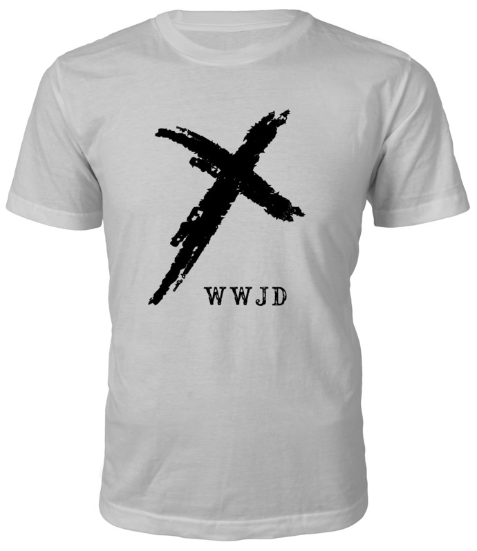 WWJD (What Would Jesus Do?) with Cross graphic on custom T-Shirt — Makes a great