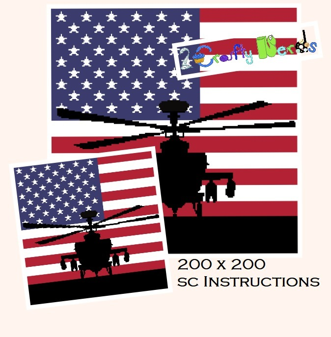 Patriotic Helicopter with Flag Pattern Graph with SC Single Crochet Written