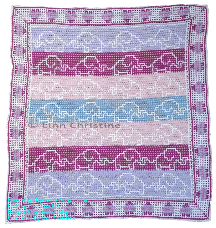 Marching Elephants Baby Throw Locking Filet Crochet Pattern