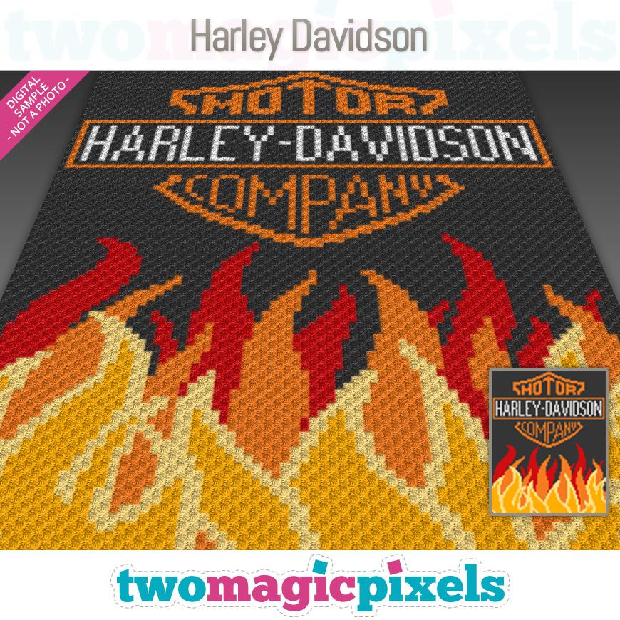 Harley Davidson Crochet Graph C2c Mini By Twomagicpixels On Zibbet