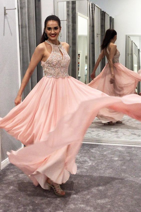 Charming Beaded A Line Prom Dress, Formal Evening Gowns, Chiffon Evening Party