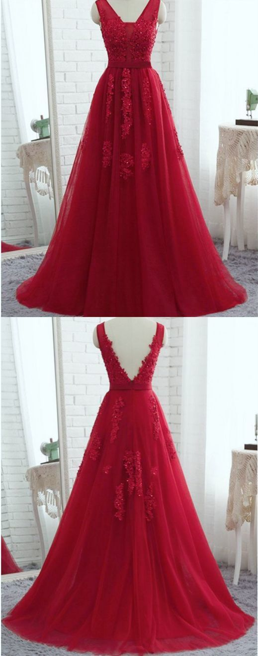 Elegant Red A Line Prom Dress with Appliques, Formal Evening Gowns