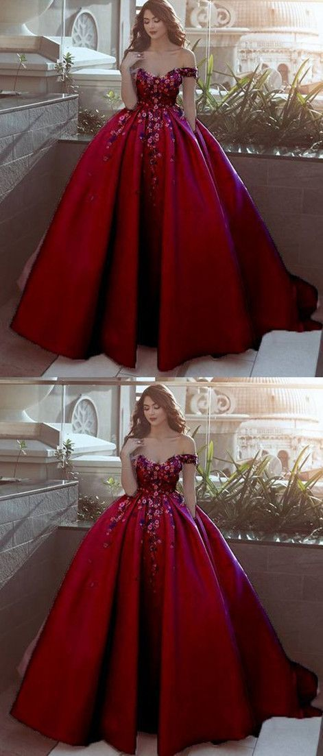 Elegant Off Shoulder Red Ball Gown Prom Dress, Handmade Flower Quinceanera