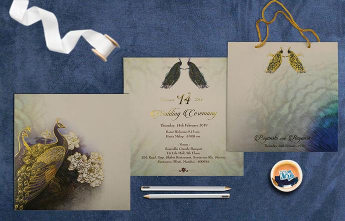 ORNAMENTED PEACOCK THEMED WEDDING INVITATIONS