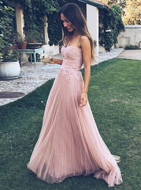 c7378cfed0d9 Elegant Strapless A Line Prom Dress with Appliques, Pink Tulle Long Evening