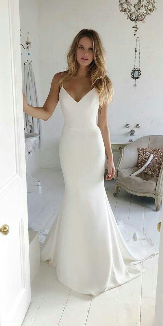 Mermaid Spaghetti Straps High Quality Satin Wedding Dress