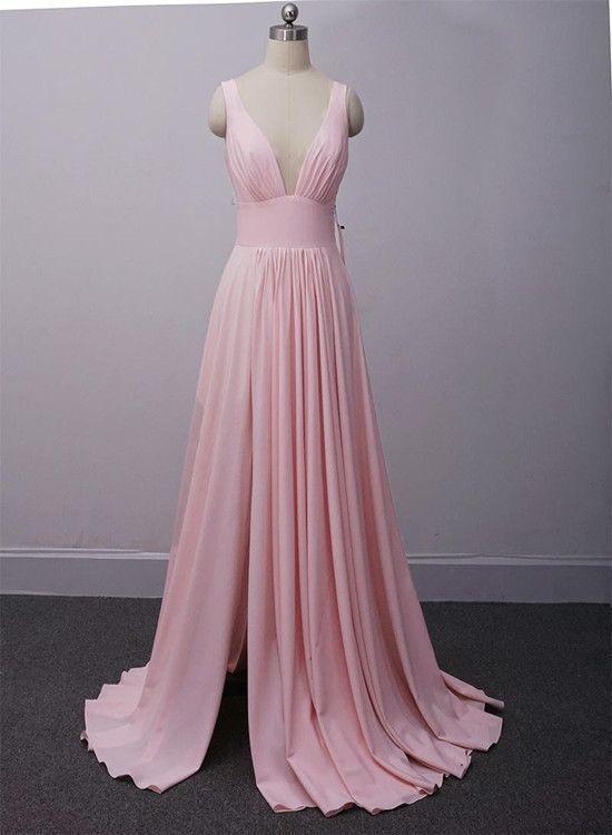 Pink Prom Dress,Slit Party Dress,Sexy Split Pink Bridesmaid Dress